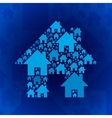 Blue home symbol on dark blue background vector image vector image