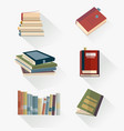 books set in flat design style learning symbols vector image vector image