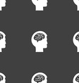Brain sign Seamless pattern on a gray background vector image vector image