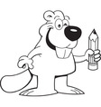 Cartoon beaver holding a pencil vector image vector image