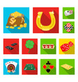 casino and equipment flat icons in set collection vector image