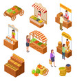 farmers market isometric people sell and buy vector image vector image