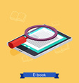 Flat 3d isometric e-book reader and books vector image vector image
