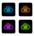 glowing neon cloud upload icon isolated on white vector image vector image