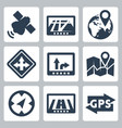gps and navigation icons set vector image vector image