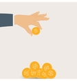 Hand Puts Gold Coin - Contribution to the Future vector image vector image