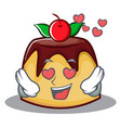 in love pudding character cartoon style vector image vector image