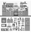 kitchen interior with modern furniture line vector image