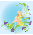 Little cute forest fairy sitting on beautiful wild vector image