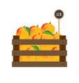 mango in wooden grate vector image