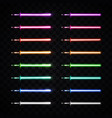 neon light swords set glowing sabers collection vector image vector image
