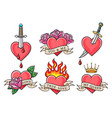 old school heart tattoo set vector image vector image