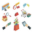 online shopping isometric 3d icons set vector image vector image