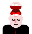 open head with teeth tongue and open mouth vector image vector image