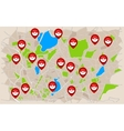 Pokeball Sings On The Map vector image vector image