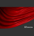 red silk fabric isolated on gray background vector image vector image