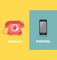 retro phone in analog age and modern phone in vector image vector image