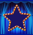 retro star billboard blue theater curtain vector image vector image