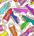 seamless pattern sneakers vector image vector image