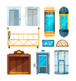 set of different modern glass elevators vector image vector image