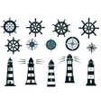 Set of marine or nautical themed icons vector image
