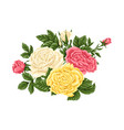 set of pink yellow and white roses bouquets vector image vector image