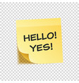 sticky note with text and shadow isolated on vector image