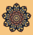stylized mandala flower like round ornate vector image