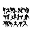 taekwondo and karate silhouettes vector image
