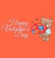 teddy bear with bouquet colorful flowers cartoon vector image