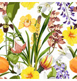 tropical floral seamless pattern background vector image vector image
