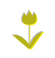 tulip sign yellow icon with square vector image vector image