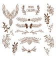 winter floral sketch template vector image vector image
