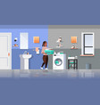 woman with clothes basket near washing machine vector image vector image