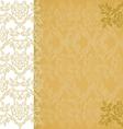 Background floral border vertical gold vintage vector image
