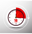 16 sixteen minutes clock icon time symbol vector image