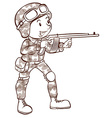 A soldier holding a gun vector image vector image