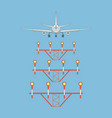 airplane over landing lights back view vector image vector image