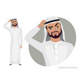 arab man character is pensive thinking