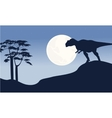 At night mapusaurus scenery silhouettes vector image vector image