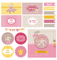 Baby Shower Bunny Party Set vector image vector image
