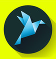 blue origami bird art icon vector image