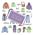 boy sale clothes and lettering doodle set vector image vector image
