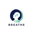 breath leaf logo icon vector image vector image