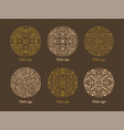 bundle of round oriental ornaments drawn with vector image