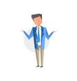 businessman spreading his hands cartoon vector image vector image