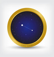 canis minor constellation in golden circle vector image