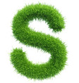 capital letter s from grass on white vector image vector image