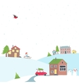 Card with a view of the snow-covered village vector image