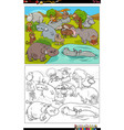 cartoon animals characters group coloring book vector image vector image